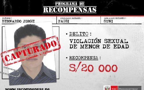 Bernardo Jorge Pacsi Suni, quien está incluido en el Programa de Recompensas Que Ellos se Cuiden del Ministerio del Interior (Mininter) por violación sexual de una menor de edad.