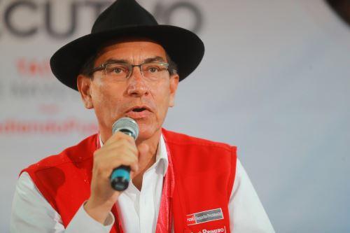 Jefe de Estado  Martin Vizcarra, en conferencia de prensa