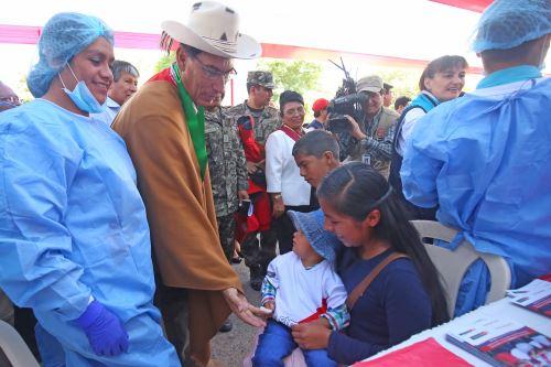 Presidente Vizcarra lidera Jornada Nacional contra la Anemia en Plaza de Armas de Huanta