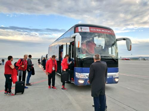 La Blanquirroja llegó a Ekaterimburgo  para enfrentar a Francia por el grupo C