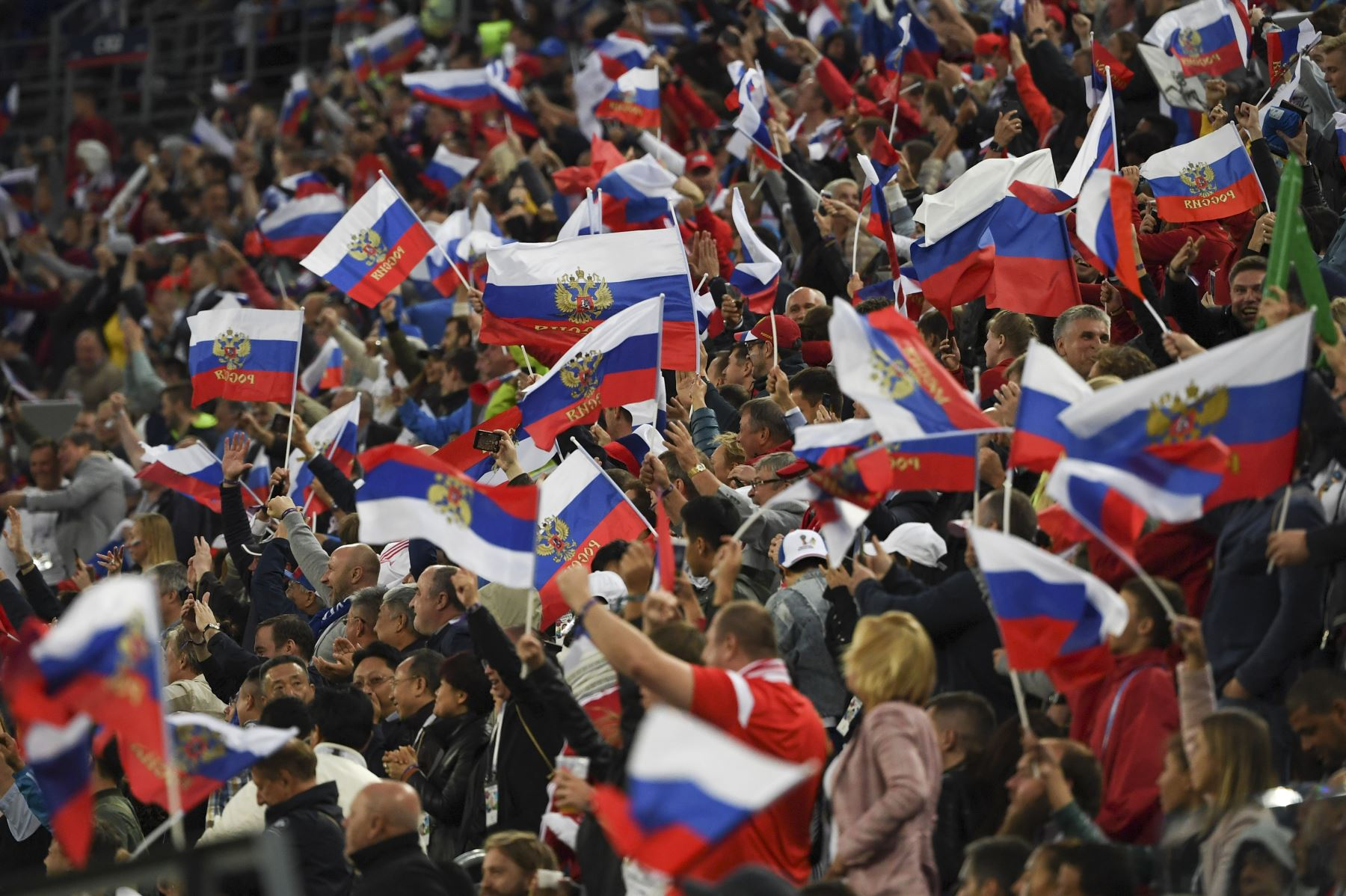 Los fanáticos de Rusia celebran durante el partido de fútbol de la Copa Mundial Rusia 2018 Un partido de fútbol entre Rusia y Egipto en el Estadio de San Petersburgo en San Petersburgo el 19 de junio de 2018. / AFP