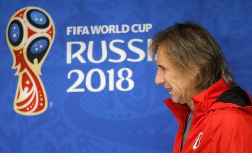 Conferencia de prensa del director técnico de la selección peruana  Ricardo Gareca y el defensa Christian Ramos