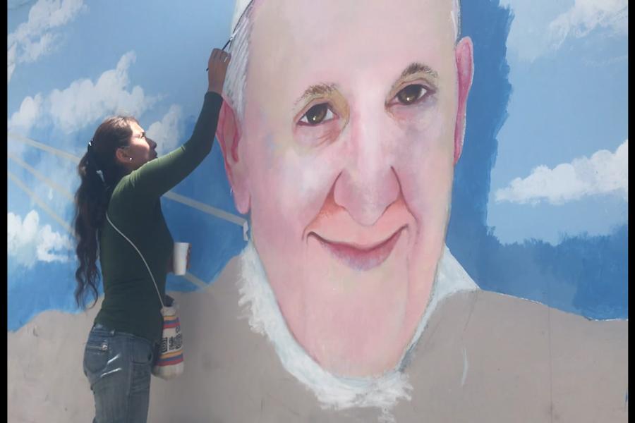 Papa Francisco: pintan enorme mural por su visita