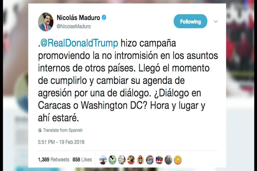Presidente Maduro pide reunión a Trump