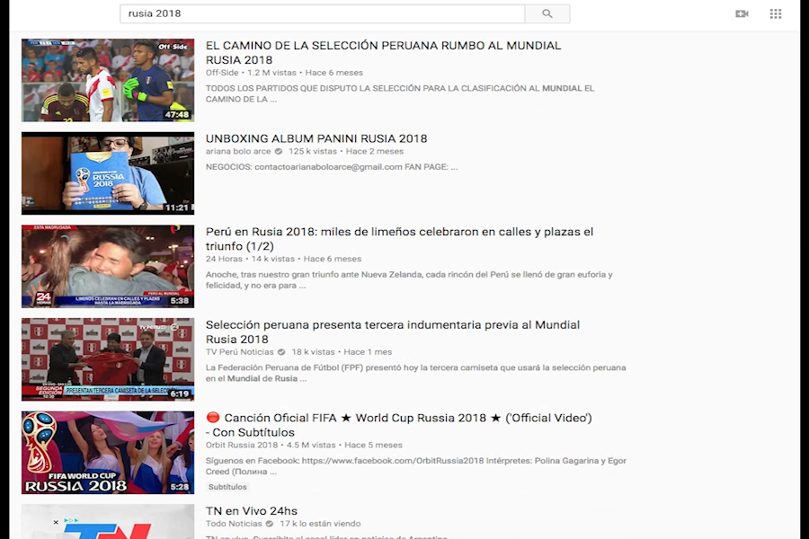 Peruanos usan YouTube para ver videos del Mundial Rusia 2018