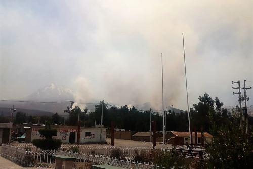 Incendio forestal se registra cerca de zonas urbanas de Polobaya, en Arequipa.