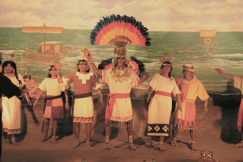 Museo de Sitio Chotuna-Chornancap exhibe una recreación del arribo del mítico Naylamp.
