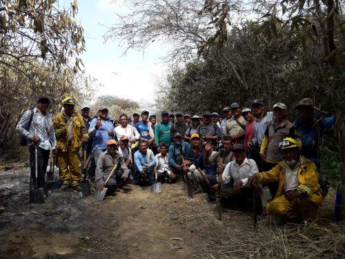Trabajo conjunto durante 10 días permitió controlar al 100 % el incendio forestal en el Santuario Histórico Bosque de Pómac.