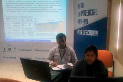 En una videoconferencia, la especialista del Ingemmet Danitza Machaca explicó los resultados de la evaluación de arsénico en fuentes de agua de Mórrope a las autoridades de Lambayeque.
