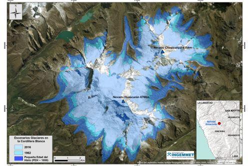 En el gráfico se observa cómo han variado los glaciares de la Cordillera Blanca durante el período de estudio.