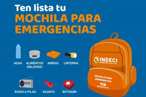 Todas las familias deben estar preparadas para un eventual terremoto y tener lista la mochila de emergencia.