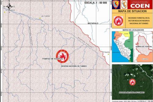 El jueves 25 de octubre se reportó incendio forestal en el sector Boliche del distrito de Pampas de Hospital, región Tumbes, informó el COER.