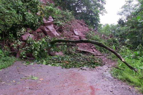 Tramo de la vía Pasco-Pucallpa en Puerto Bermúdez se encuentra bloqueado por el huaico.