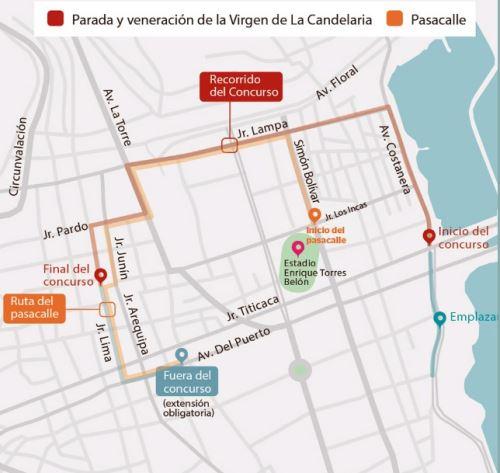 La tradicional Parada y Veneración en honor a la Mamita Candelaria recorrerá las principales arterias de la ciudad de Puno.