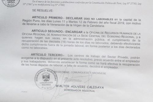 El Gobierno Regional de Puno declaró el 11 y 12 de febrero días no laborables recuperables, para promover la participación en la Parada y Veneración de la Virgen de la Candelaria.