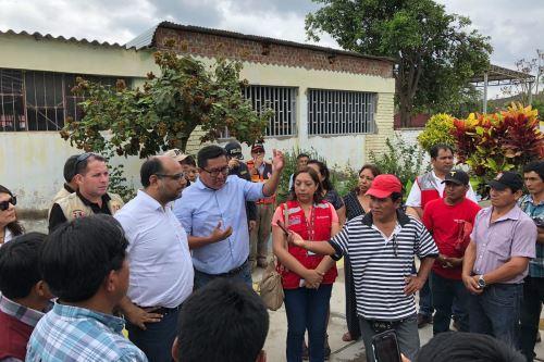 El ministro de Educación, Daniel Alfaro, supervisó las obras en las instituciones educativas Jorge Chavez y José Justo Arce Gonzales, en el distrito de Salas.