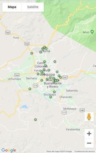 Los puntos verdes son los usuarios del aplicativo en la región sureña de Arequipa.