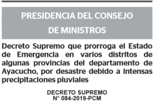 En Ayacucho son 44 los distritos que continuarán en estado de emergencia por las lluvias intensas.