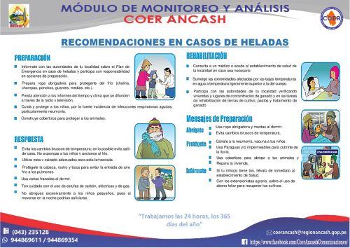 Ante bajas temperaturas, el COER Áncash ofrece diversas recomendaciones a la población para las etapas de preparación, respuesta y rehabilitación