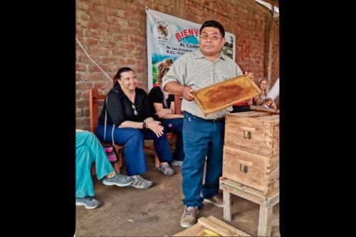 Los turistas conocen sobre cómo se produce la miel de abeja y el cuidado de las abejas.