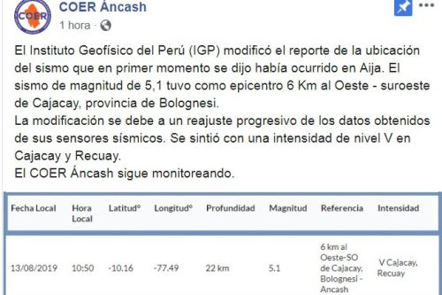 El COER Áncash informó que el sismo de la víspera tuvo como epicentro el distrito de Cajacay, en la sierra de Áncash.
