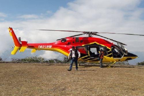 Este es el helicóptero, de matrícula OB2189P, que aterrizó en Choquequirao el 15 de agosto.