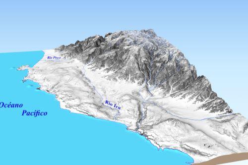 Elevación digital a partir de una imagen satelital Spot de 6 milímetros de resolución, en la que se puede ver la geomorfología del valle de Ica, su dirección y el relieve que lo confina (llanuras, lomas y montañas).