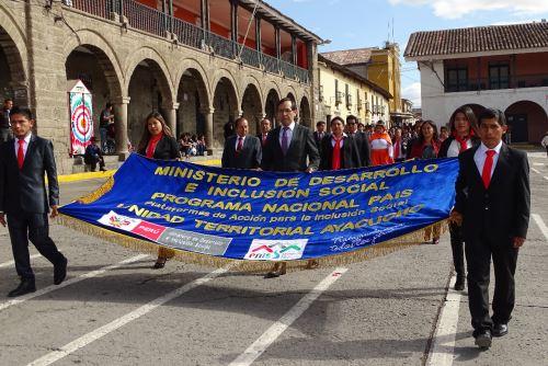 El programa PAIS participó en desfile cívico en la plaza de Armas de la ciudad de Ayacucho.