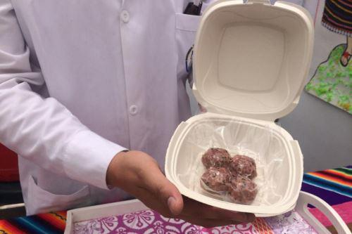 Estas nutritivas albóndigas precocidas de carne de alpaca con sangrecita y germinado de alfalfa servirán para combatir la anemia.