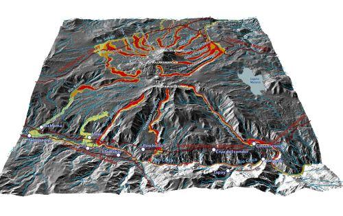 Este es el mapa de peligros por flujos de lodo o lahares (huaico) del volcán Sabancaya, elaborado por el Ingemmet.
