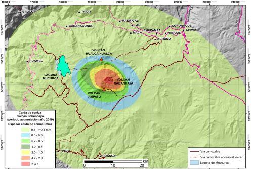 Mapa de dispersión de ceniza por proceso eruptivo del volcán Sabancaya (Arequipa), elaborado por el Ingemmet.