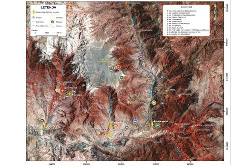 El Ingemmet ha elaborado un mapa con los 12 geositios que pueden formar parte de un nuevo circuito turístico de la región Moquegua.