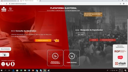 Elecciones 2020: JNE presenta hoy la página web Voto Informado