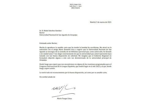Carta enviada por el escritor Mario Vargas Llosa al rector de la UNSA, Rohel Sánchez Sánchez.