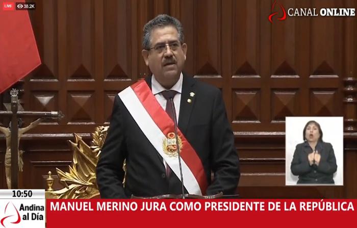 EN VIVO: Manuel Merino jura como presidente de la República