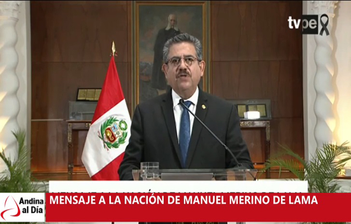 EN VIVO: Manuel Merino se dirige a la nación