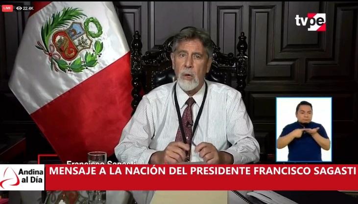 EN VIVO: Presidente Sagasti ofrece Mensaje a la Nación
