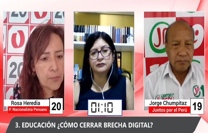 Debate Electoral: Rosa Heredia (Partido Nacionalista Peruano) y Jorge Chumpitaz ( Juntos Por el Perú)