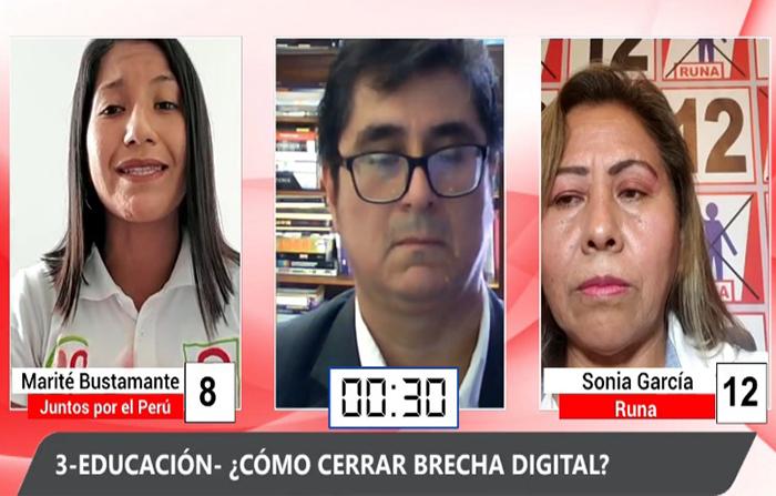 Debate Electoral: Marité Bustamante (Juntos por el Perú ) y Sonia García (Runa)