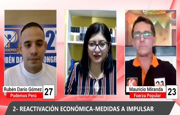 Debate electoral: Rubén Darío Gómez (Podemos Perú) y Mauricio Miranda (Fuerza Popular )
