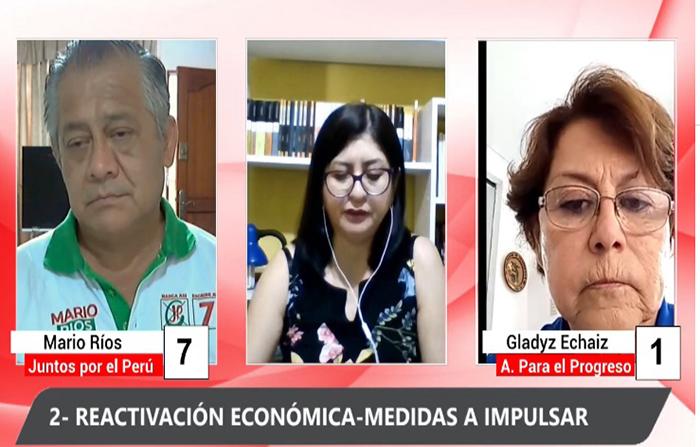 Debate electoral: Mario Ríos (Juntos por el Perú) y Gladyz Echaíz (Alianza Para el Progreso )