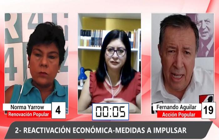 Debate electoral: Norma Yarrow (Renovación Popular) y Fernando Aguilar ( Acción Popular)