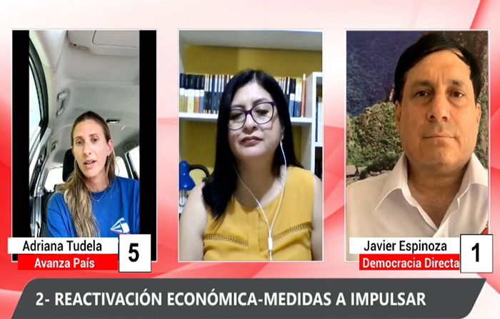 Debate electoral: Adriana Tudela (Avanza País) y Javier Espinoza Ayaipoma ( Democracia Directa)
