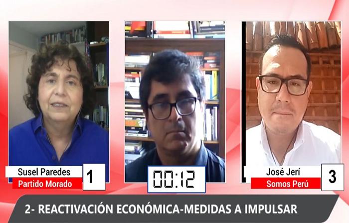 Debate electoral: Susel Paredes (Partido Morado) y José Jerí (Somos Perú )