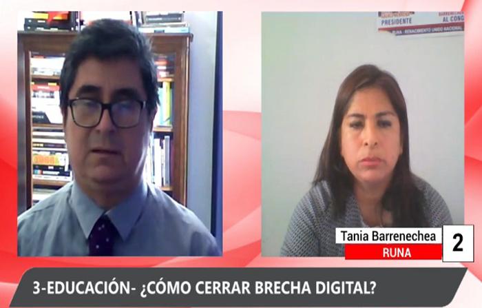 Debate electoral: Dante Fernández (Contigo ) y Tania Barrenechea (RUNA)