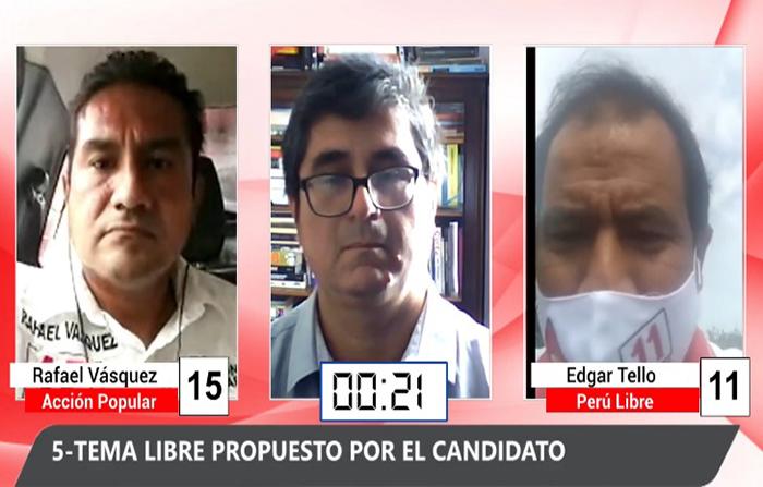 Debate electoral: Rafael Vásquez (Acción Popular) y Edgar Tello Perú Libre)
