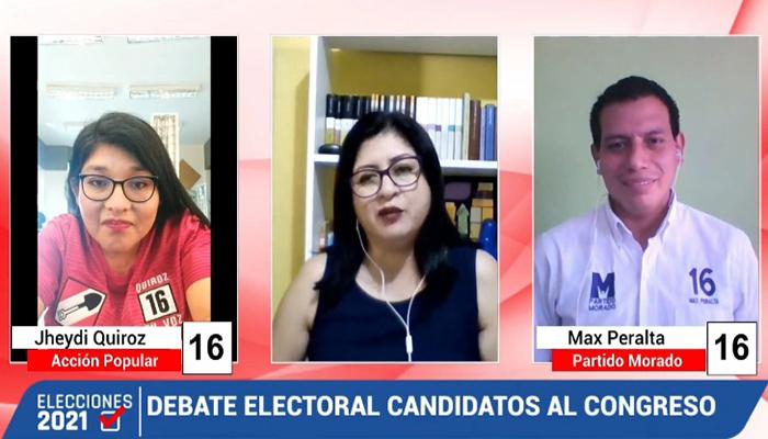 Debate electoral: Jheydy Quiróz (Acción Popular) y Max Peralta (Partido Morado )
