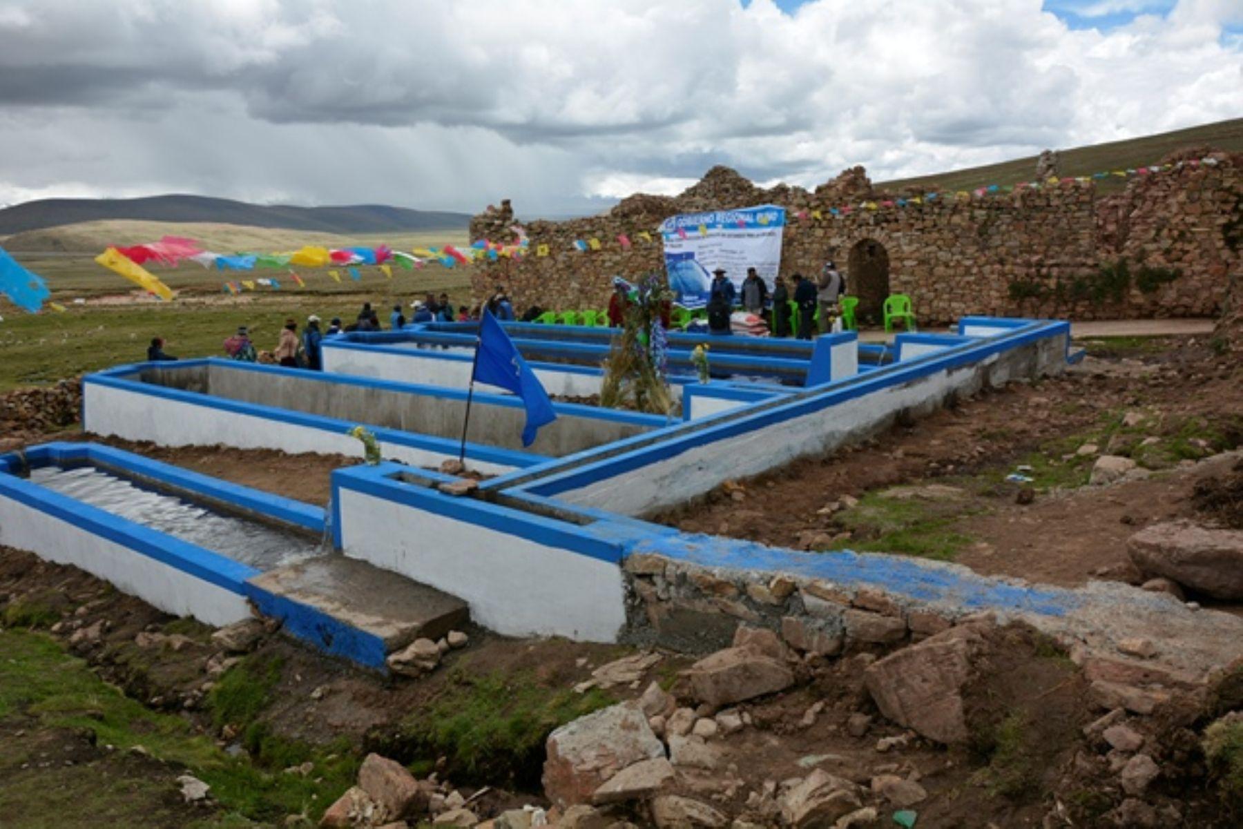 Inauguran estanque de crianza de truchas en comunidad de for Crianza de truchas en estanques