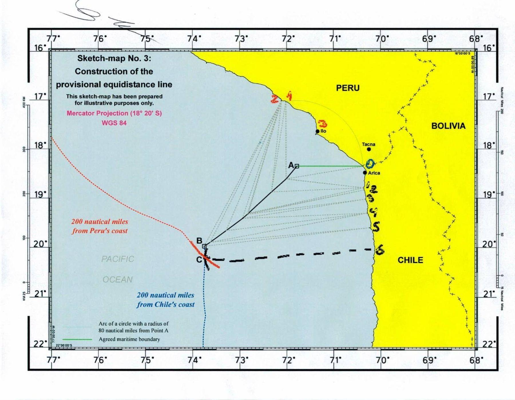 Mapa de pasos técnicos para determinar las coordenadas de la frontera entre Perú y Chile.