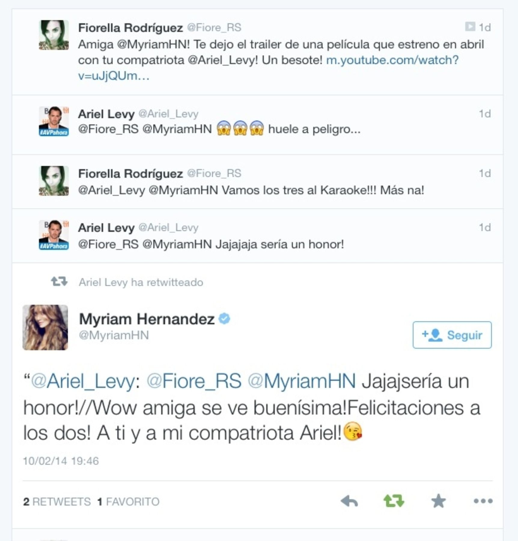 Tweet de Myriam Hernández.